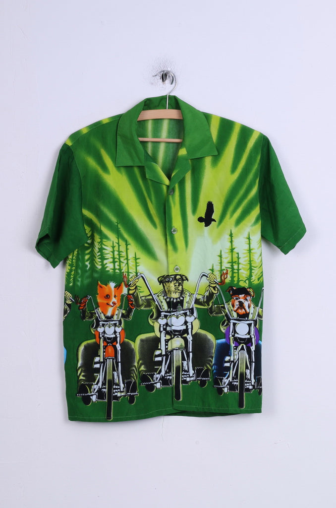 All Things Mens 10 S Casual Shirt Green Graphic Dogs Motor Short Sleeve
