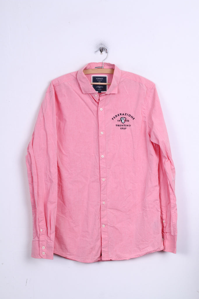 STANGATA Mens L Casual Shirt Button Down Collar Pink Federazione Terntino