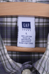GAP Mens L Casual Shirt Cotton Green Checkered Long Sleeve Button Down Collar