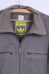 Adidas Mens M Sweatshirt Grey Track Top Jacket Cotton Sport