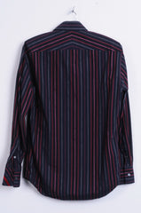 Jeff Banks Mens S Casual Shirt Striped Navy Cotton Classic Top - RetrospectClothes