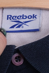 Reebok Mens L Polo Shirt Navy Cotton Vintage Striped