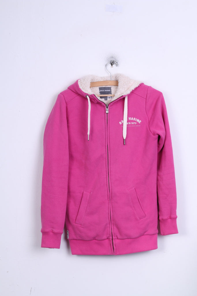 RACE MARINE Womens 36 S Sweatshirt Jumper Pink Hood Padded