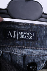Armani Jeans Womens W27 L32 Trousers Navy Denim Cotton Straight Leg Pants