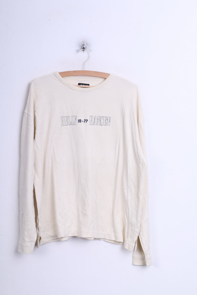 Helly Hansen Mens XL Jumper Sweatshirt Beige Cotton Crew Neck