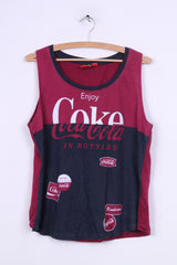 Primark Coca-Cola Womens 14/16 L Tank Top Shirt Vest Navy Cotton