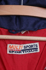 Multi Sports Sportique Mens M Jacket Bomber Tracksuit Top Red Full Zipper