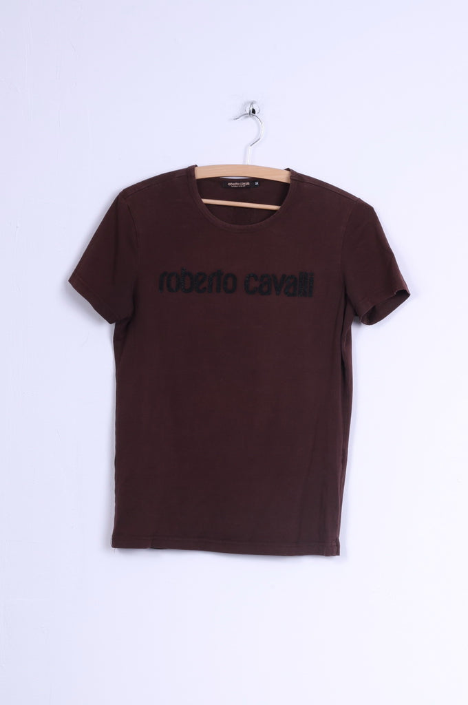 Roberto Cavalli Womens M T-Shirt Brown Cotton Top Beads Scoop Neck