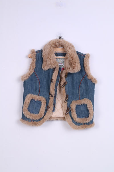 Next Girls 13-14 years Vest Denim Faux Fur Loop Toggle Cotton Blue