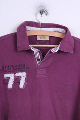 Camel Active Mens L Polo Shirt Purple Detailed Buttons Long Sleeve
