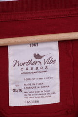 Northern Vibe Mens XL T-Shirt Canda Vancouver Burgundy Crew Neck Cotton