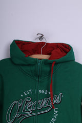 O'Learys Mens L Jumper Sweatshirt Full Zipper Hooded Bar&Restaurant