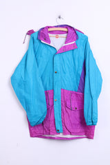Mens M Nylon Parka Jacket Light Turquoise Hood Raincoat - RetrospectClothes