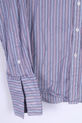 T.M. Lewin Mens 15.5 34.5 M Casual Shirt Blue Striped Cotton Cuffs Slim Fit