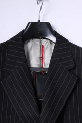 New River Island Mens 44R Blazer Black Striped Superior Quality Single Breasted Jacket