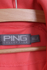 PING Junior / Mens XLJ / S Polo Shirt Golf Shirt Detailed Buttons Peach
