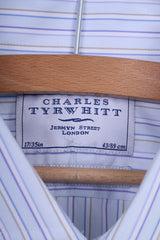 Charles Tyrwhitt Mens 17 43 Formal Shirt Slim Fit Striped Blue