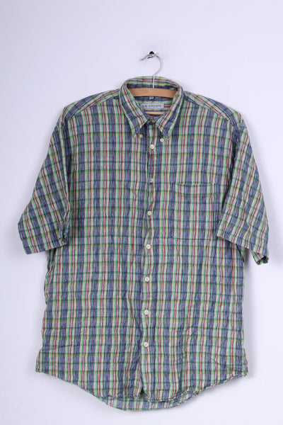 Le Frog Mens M 38/40 Casual Shirt Multicolor Check Vintage