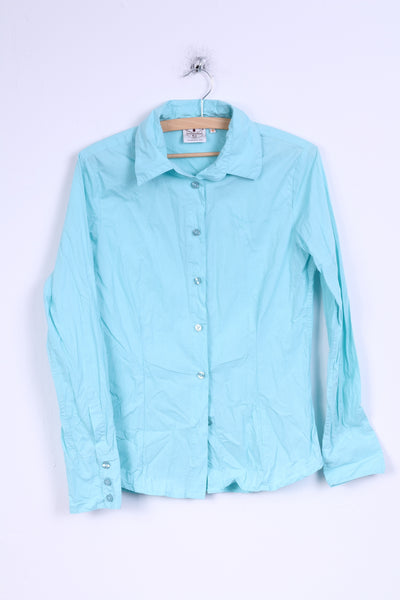 Chiemsee Womens M Casual Shirt Turquoise Cotton Detailed Buttons Long Sleeve