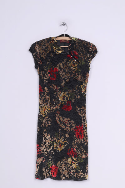 Adda Personalized Wear Womens 38 S Dress Black Mini Chinese Style Flower Print