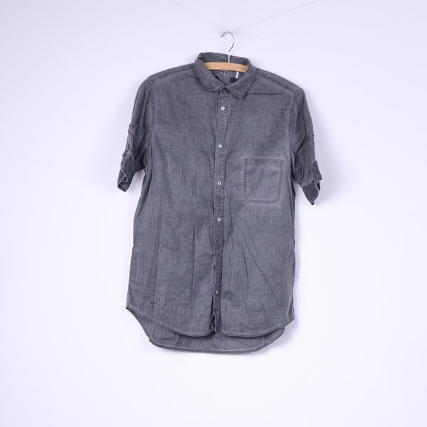 Diesel Mens M Casual Shirt Short Sleeve Grey Cotton Summer Top