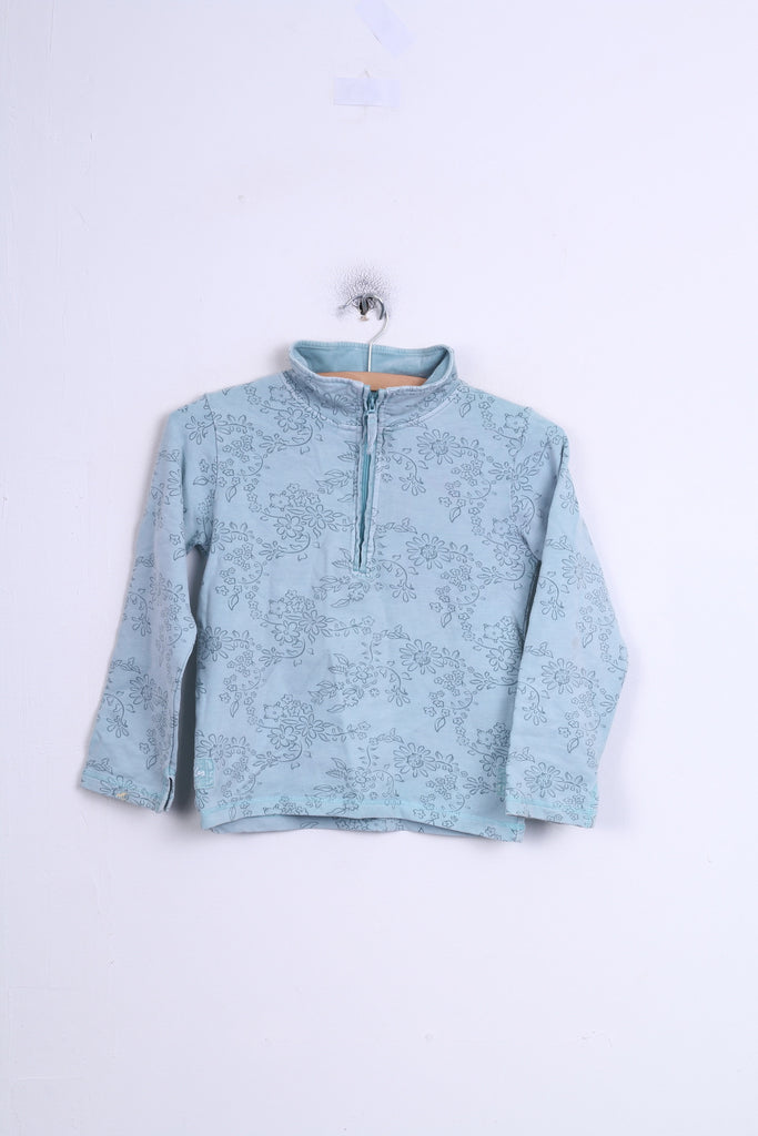 Joules Girls L 8-9 Long Sleeved Top Flowers Sea Color Blue Cotton