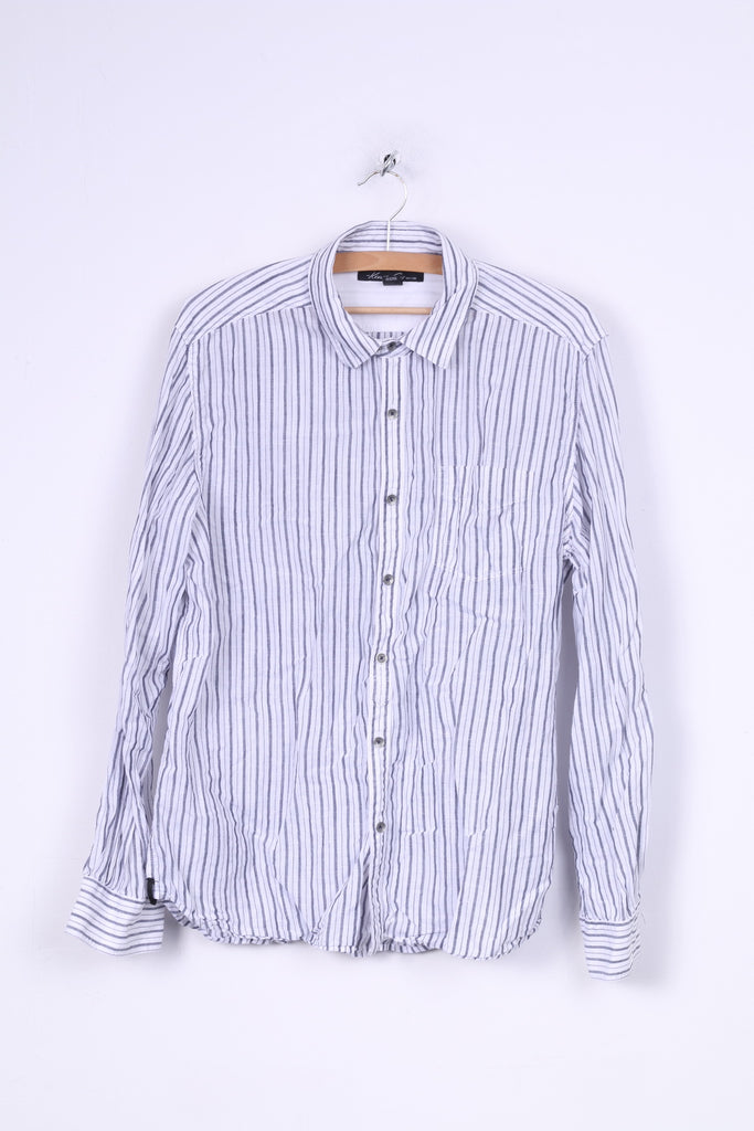 Kenneth Cole Mens L Casual Shirt Cotton Striped Long Sleeve