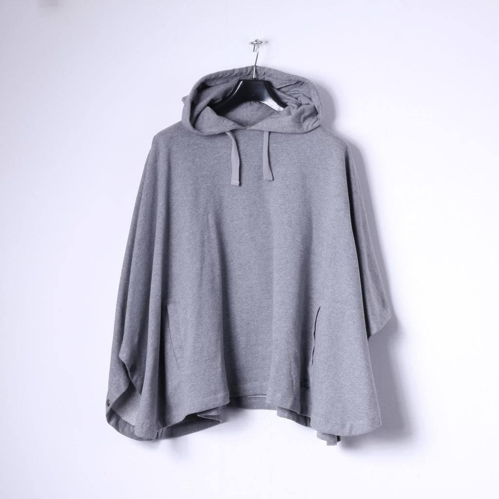 Replay Blue Jeans Womens L Poncho Grey Cotton Hooded Snaps Loose Fit Sweatshirt