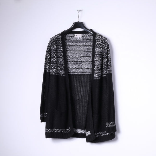 New Look Knitwear Womens 12 40 M Open Front Cardigan Black Sweater Top