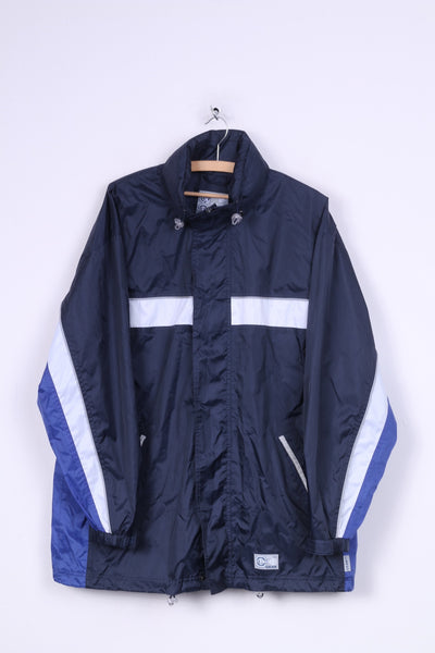 TCM Gear Mens M Jacket Hooded Full Zipper Nylon Waterproof Navy
