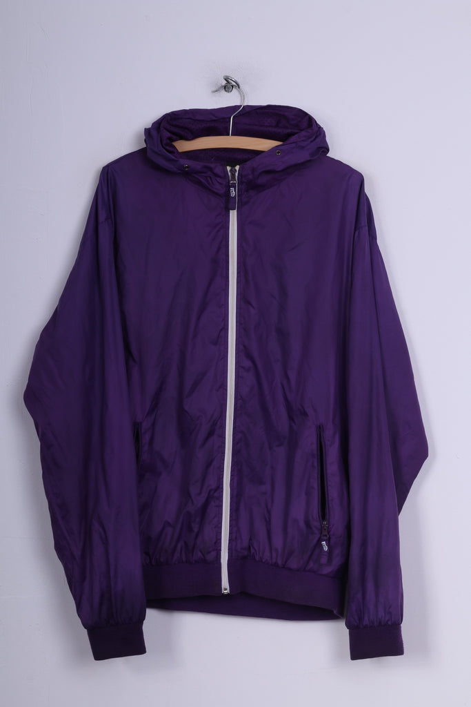 Kickz Men XL Lightweight Jacket Purple Full Zipper Sportswear Hooded Retro Top