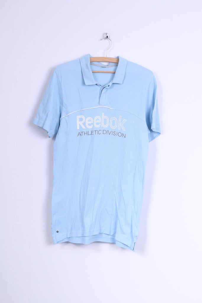 Reebok Mens XS Polo Shirt Light Blue Athletic Division Slim Fit Cotton Top