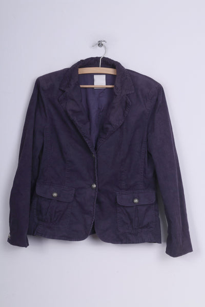 Hirsch. Womens 12 M Blazer Jacket Corduroy Purple Single Breasted Cotton Sholuder Pads