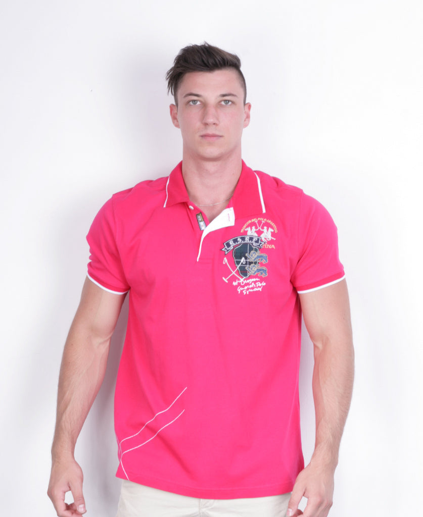 La Martina Mens 4XL Polo Shirt Pink Summer Cotton Short Sleeve - RetrospectClothes