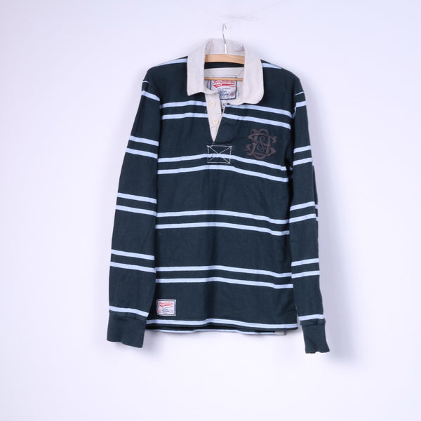 Superdry Mens M Jumper Polo Collar Buttons Detailed Striped Green Cotton Top