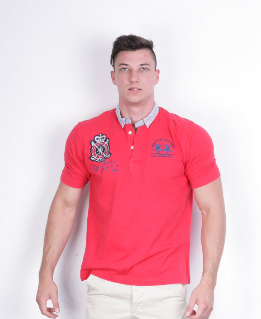 La Martina Mens L Polo Shirt Red Cotton UK Polo Sport - RetrospectClothes