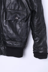 Identity Mens S Bomber Jacket Black Leather Imitation Fur Lined Biker Zip Up Top