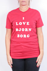 Bjorn Borg Womens S Shirt Crew Neck Red Top Sport Cotton - RetrospectClothes