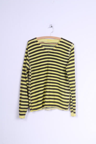 Emergie Womens  M Jumper Yellow Brown Striped V Neck Sweater
