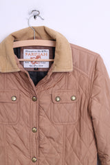 Parisian Womens 8 S Quilted Jacket Beige Patch Handcrafted - RetrospectClothes