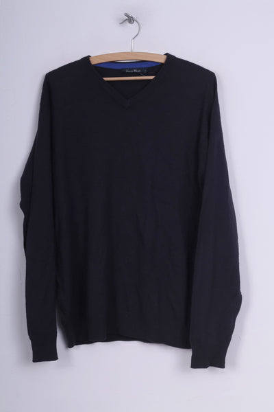 James Pringle Mens L Jumper Sweater Lightweight Navy V Neck