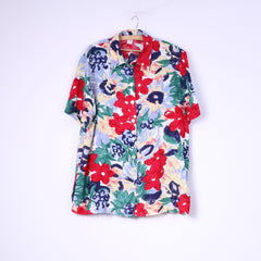 Vintage Womens 2XL Casual Shirt Short Sleeve Flower Printed Top Multi XXL