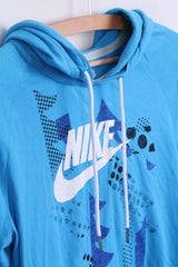 NIKE Womens M 10/12 Jumper Hood Blue Cotton Sportswear