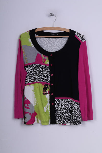 Sol Design Womens 42 L Blouse Button Front Multiprint Black /Pink Long Sleeve Top