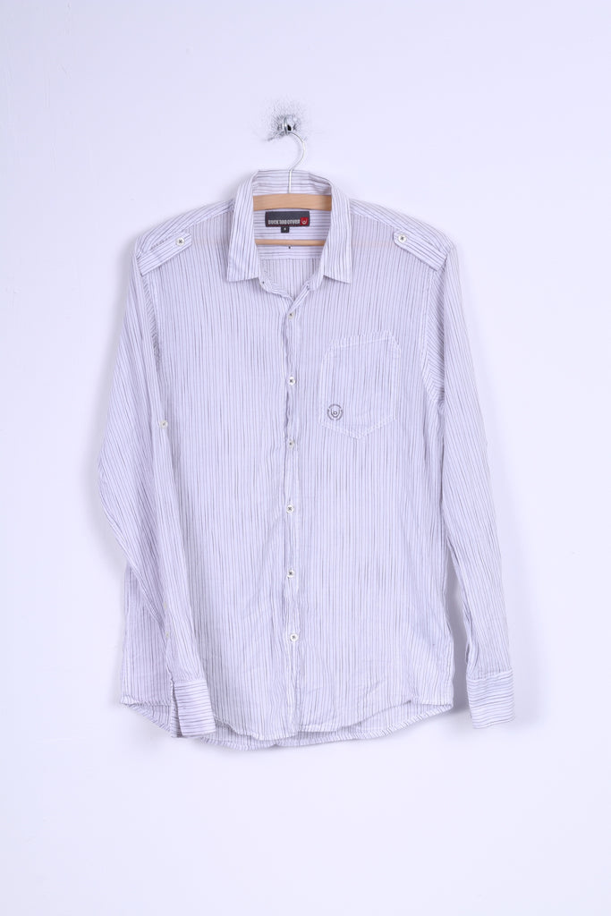 Duck and Cover Mens M Casual Shirt White Striped Cotton Long Sleeve