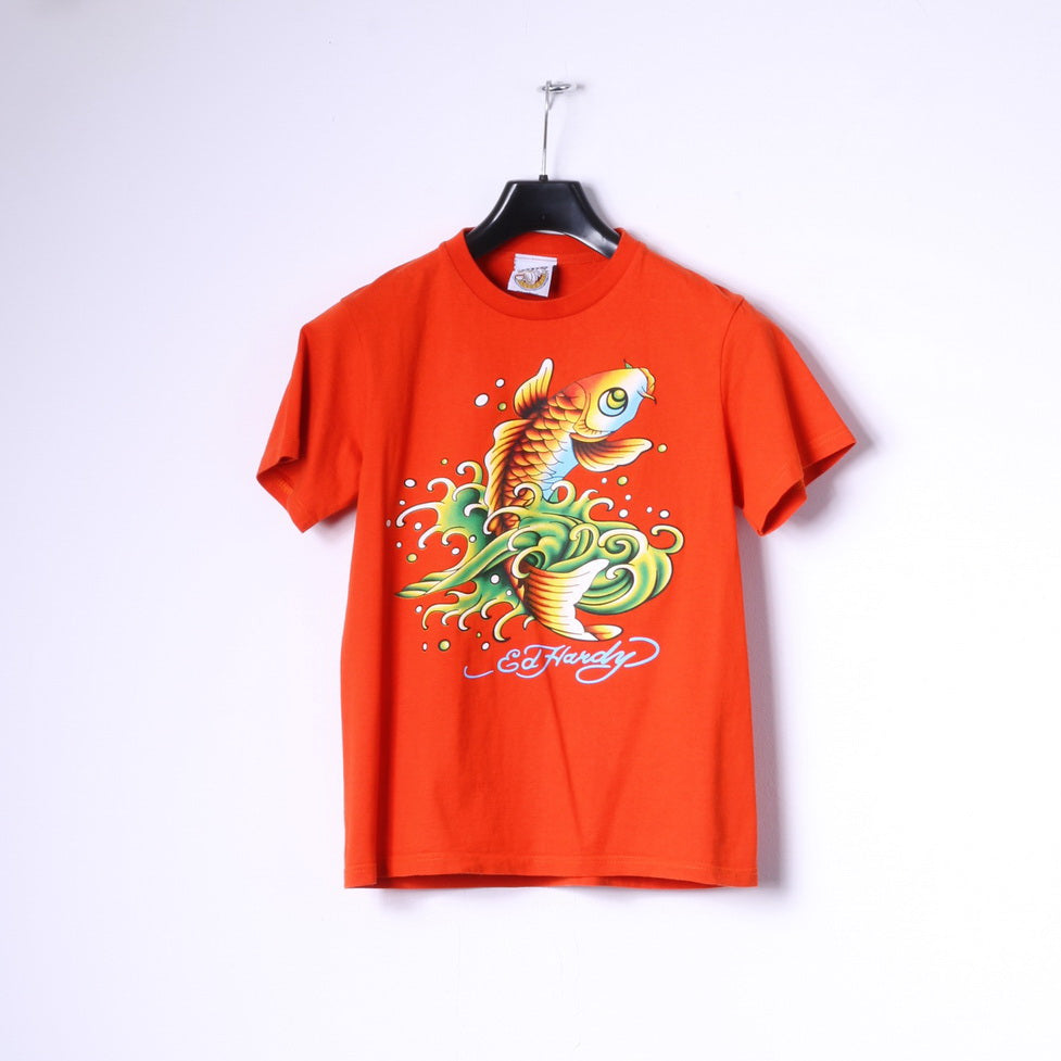 Ed Hardy Boys M 14 Age T-Shirt Orange Cotton Fish Graphic Top