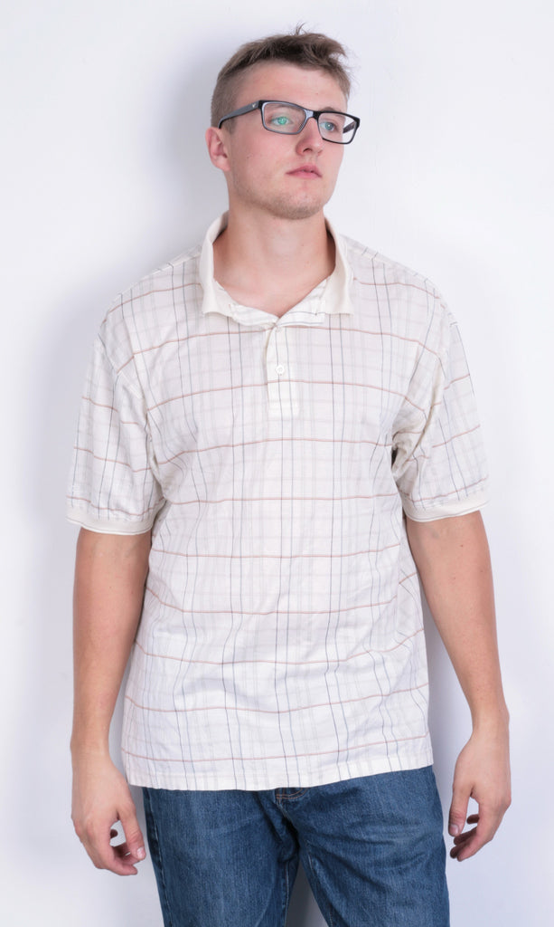 Ping Mens M Polo Shirt Checkered Beige Golf Sport Cotton Golf - RetrospectClothes