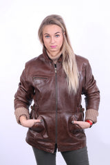 Hollies Women S Jacket Brown Pig Leather Vintage Biker Heavy Casual Top