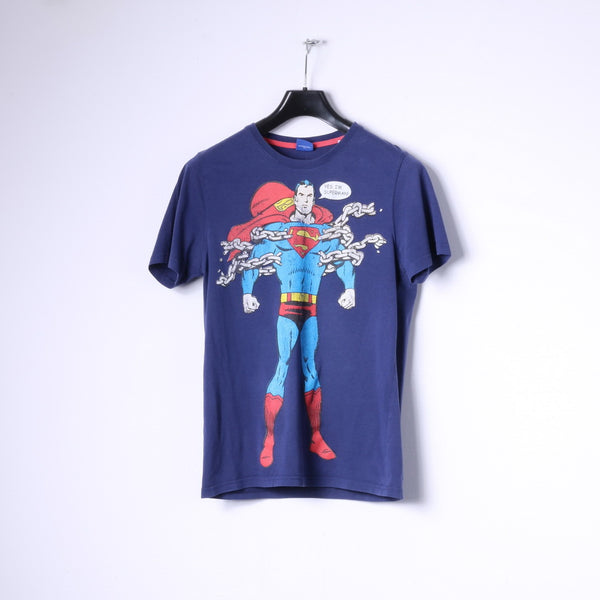 Superman Mens M (S)  T-Shirt Navy Cotton Graphic Superhero Slim Top