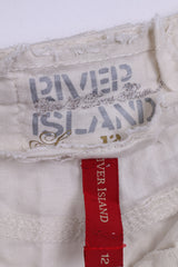 River Island Womens 38 M Trousers Cream Linen Straight Leg